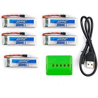5 Pezzi Batterie Li-Po Adatte per Droni JJRC H37 da 3.7 v 500mAh 20C + Caricatore 1 to 5