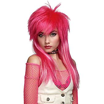 Hot Pink White Glam Wig For Women