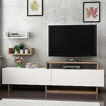 Mobile TV Tür Zera Farbe Nussbaum, weiß in Melaminic Chip 180x30x48 cm, 45x20x11 cm