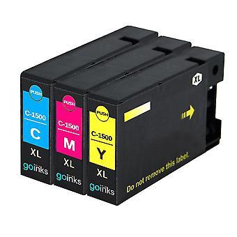 1 C/M/Y Set di 3 cartucce di inchiostro per sostituire Canon PGI-1500XL compatibile/non OEM da Go Inks (3 inchiostri)