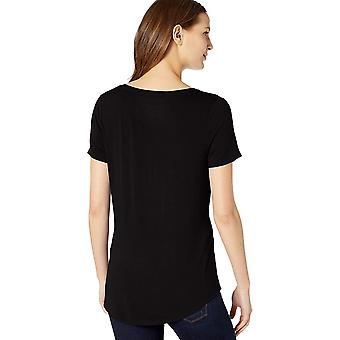Essentials Women's Solid Short-Sleeve V-Neck Tuniek, Zwart, M