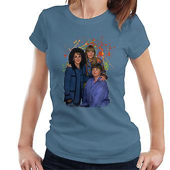 T-shirt das mulheres do Splatter TV vezes pássaros de uma pintura de elenco de penas