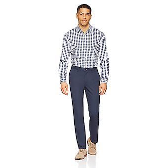Essentials Men's Slim-Fit Falten-resistente Flache-Front Chino Hose, Marine, 40W x 30L