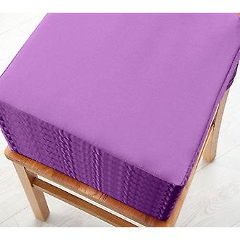 Purple 8pk Seat Pad Cushions with Secure Fastening Dining Kitchen Chairs Soft Cotton Twill