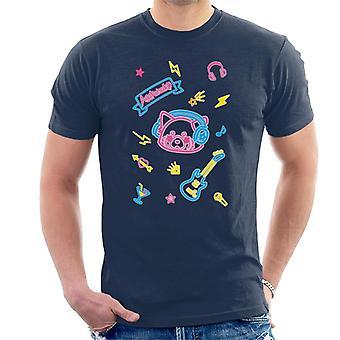 Aggretsuko Neon Musikk Menn's T-skjorte