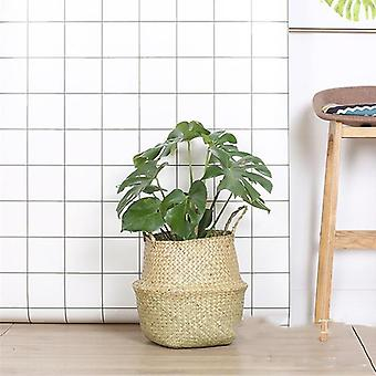 Handmade Bamboo Foldable Hanging Storage Baskets - Straw Patchwork Wicker