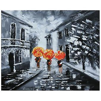 Oil on Canvas - Painting on Canvas Painted in Hand - A Walk when It Rains - Modern Painting Stay