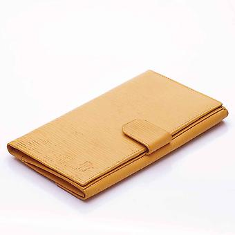Straw Oak Grain Leather Slim Clutch Wallet