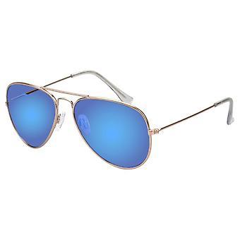 Aurinkolasit Unisex Gold sinisellä peililinssillä (17-607 P)