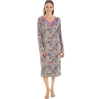 Camille Womens Grey Floral Print Spandex Knie lengte lange mouwen nachtjurk