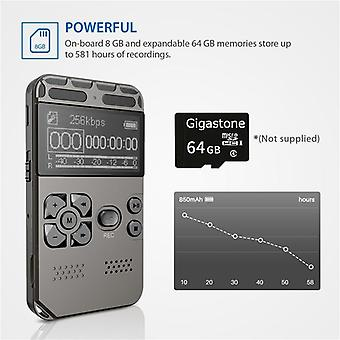 Professional Hd Digital Voice Recorder One-button Record Noise Reducation - Dictaphone 8g Large Capacity Recorder  (8gb)