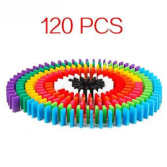120pcs/set Rainbow Wood Domino Blocks Jigsaw Toys For Children-educational Toys