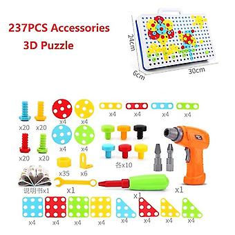 Kids Drill Screw Nut Puzzle Pretend Play Tool Drill Disassembly Assembly Toy For Boy