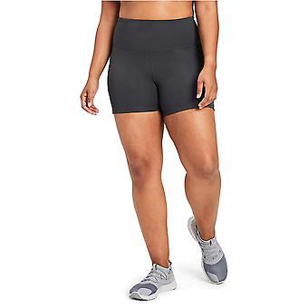 "Brand - Core 10 Women's Plus Size Race Day High Waist Run Compression Short with Pockets- 5"", Dark Grey, 2X (18W-20W)"