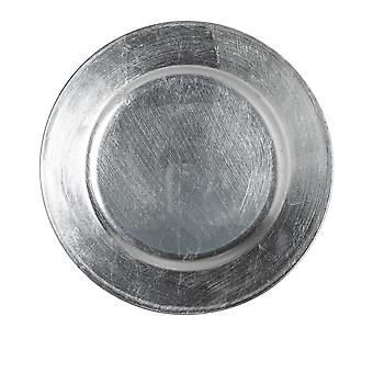 Argon Tableware Single Round Charger Plate - Brushed Metallic Finish - 33cm - Silver