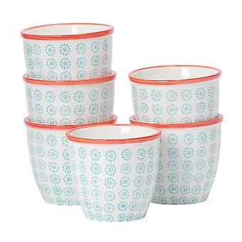 Nicola Spring 6 Piece Hand-Printed Plant Pot Set - Porcelain Indoor Outdoor Flower Pots - Turquoise - 14 x 12.5cm