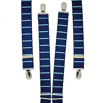 Krawatten Planet Dunkel Royal Blau & Himmel blau horizontal gestreifte Männer's Hosenträger