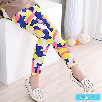 Baby Kids Flower Print Classic Leggings For Girls Set-1