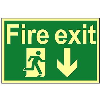 Scan Fire Exit Running Man Arrow Down - Fotoluminescencyjny 300 x 200mm SCA1580