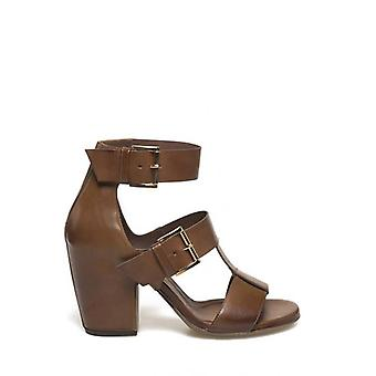 Cognac Color Sandal With Buckles and Enthalated Heel