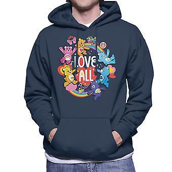 Care Bears Unlock The Magic Love All White Text Men's Hooded Sweatshirt