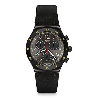 Swatch Yvb410 Vidi Black Leather Irony Novo Relógio Crono