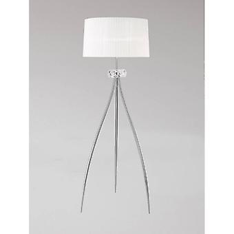 Loewe Designer Floor Lamp 3 Polished Chrome Bulbs With White Shade