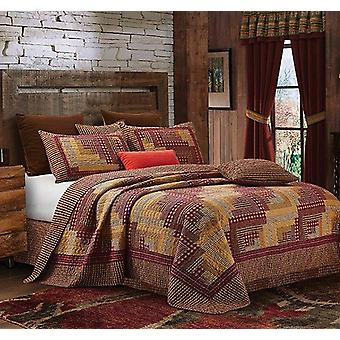 3Pcs Oriental Bedspread Montana Cabin Red & Tan Modern King/Queen/Twin Quilt