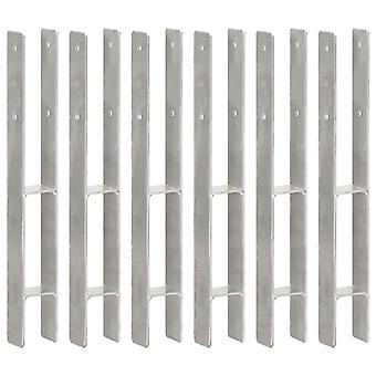 Pfostenträger 6 Stk. Silbern 7×6×60 cm Verzinkter Stahl