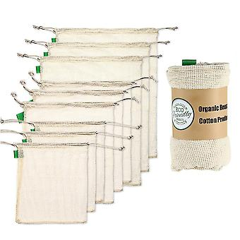 Reusable Organic Cotton Produce Bags - Set Of 9 Recyclable