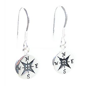 Orecchini compass tiny sterling silver hook .925 X 1 Coppia