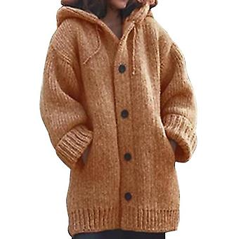 Women Long Cardigan Solid Hooded Sweater Knitting Coat Plus