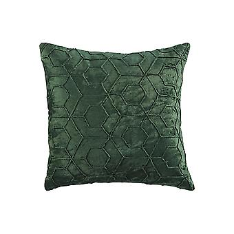 20 X 20 Cotton Accent Pillow With Hexagon Design, Set Of 4, Green