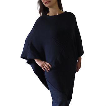 Orla Knitted Star Poncho   Navy   One Size