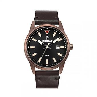 Watch Ruckfield 685057 - Dateur Bo tier Steel Brown Bracelet Leather Leather Men