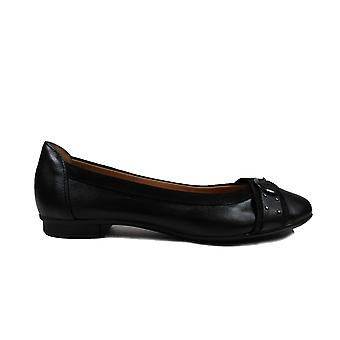Gabor Michelle 116-27 Black Leather Womens Slip On Ballerina Pump Shoes