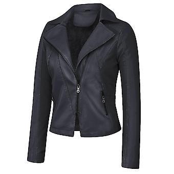 Dames Plus Velvet Solid Color Casual Faux Lederen Jas