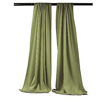La Linen Pack-2 Polyester Poplin Backdrop Drape 96-Inch Wide By 58-Inch High, Dark Sage