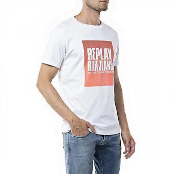 Uusintalaatikko Logo Tulosta T-paita Valkoinen M3365