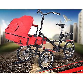 Folding Tricycle, Parent Child Bike 2 Baby Stroller Bike