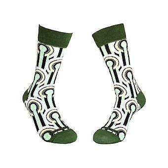 Vihreä art deco kuvioidut sukat sukka pandasta