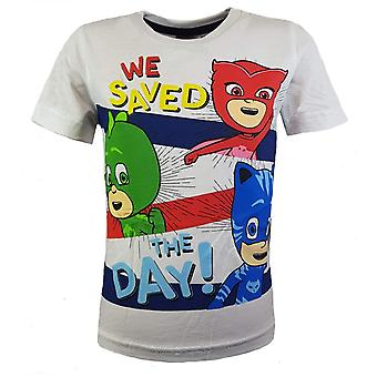Pj masks boys t-shirt owlette gekko catboy 'we saved the day'