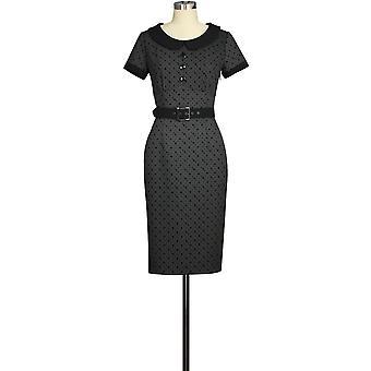 שיק כוכב כפתור רטרו שמלה אפורה / נקודות