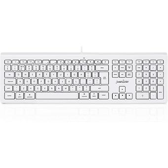 PERIBOARD-323 Silent Wired Backlit Keyboard, Compatible with Mac Os X Apple iMac Keyboard, White
