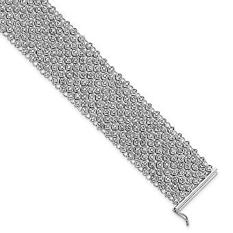 925 Sterling Silver CZ Cubic Zirconia Simulated Diamond Mesh Bracelet 6.75 Inch Jewelry Gifts for Women