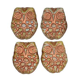 Tjeckiska glaspärlor, Horned Owl 18mm, Ljusblå, Picasso Finish och Koppartvätt, 4 stycken, av Raven's Journey