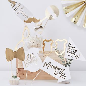 Gold Baby Shower Photo Props |  Oh Baby! Foiled Gender Neutral Game Unisex