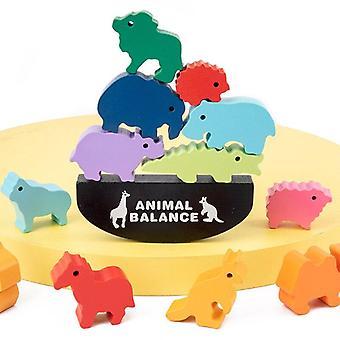 Klocki dla dzieci układanie wysokiej równowagi łodzi puzzle drewniane zabawki dla niemowląt