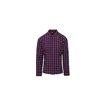 Premier Kvinders Sidehill Check Bomuld Langærmet Shirt PR356