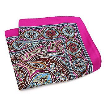 Vaaleanpunainen & violetti itämainen suuri 33cm Hanky tasku neliö